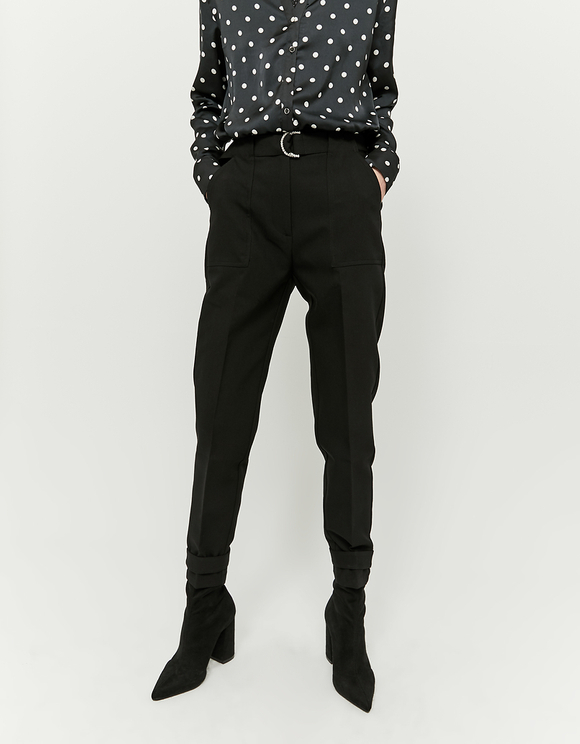 Tapered Trousers with Strass d-Ring Belt