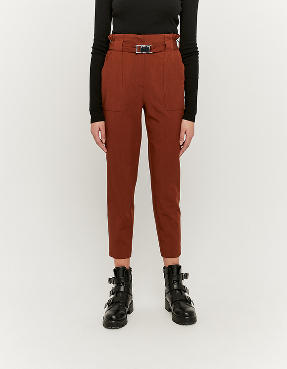 Camel Trousers with Buckle