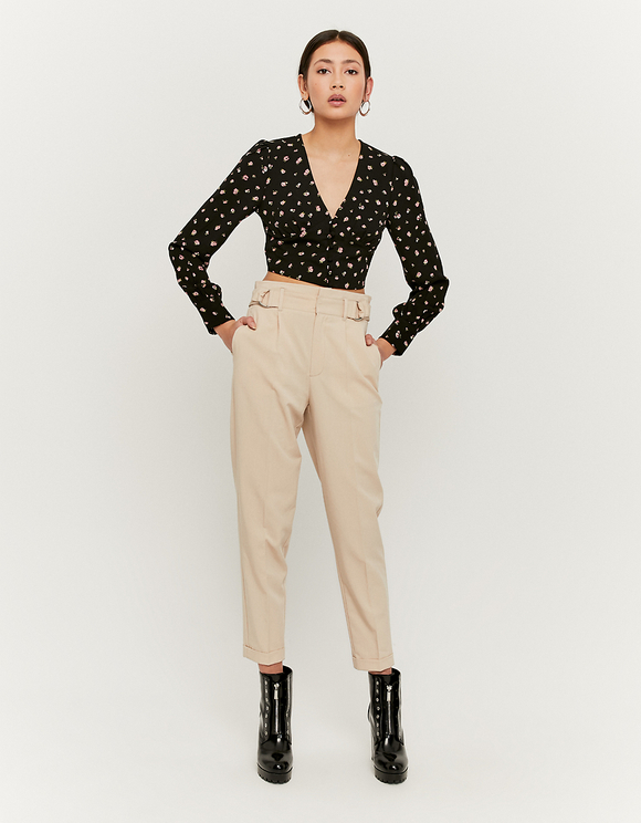 Beige Trousers with Buckle Details
