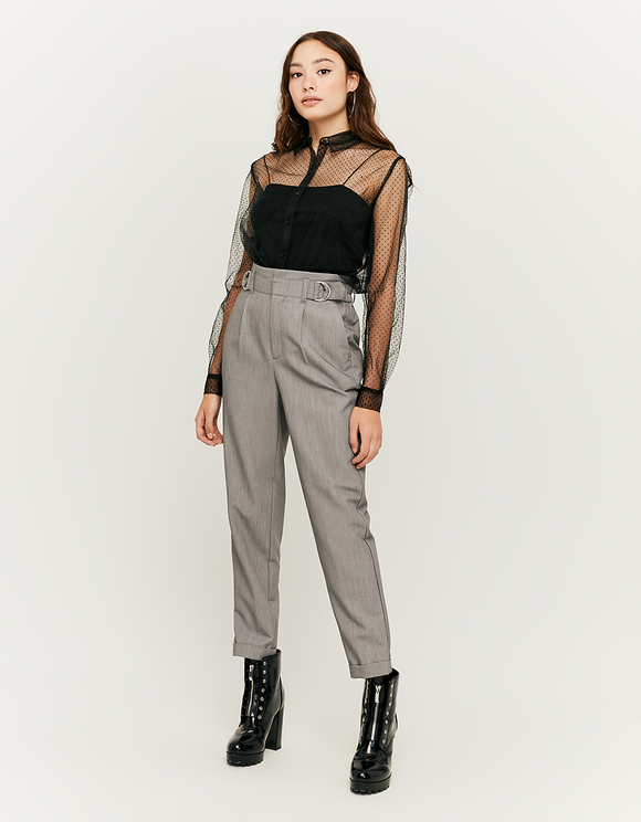 Grey Trousers with Buckle Details