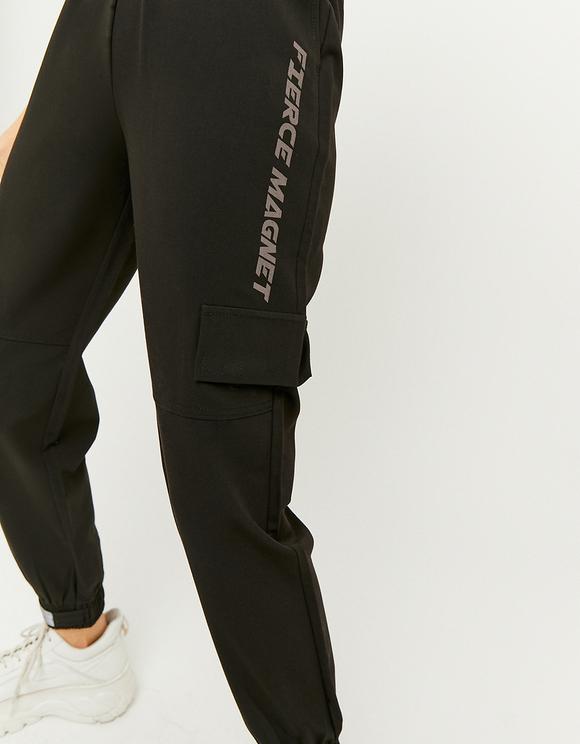 Pantaloni Joggers con Slogan a Vita Alta