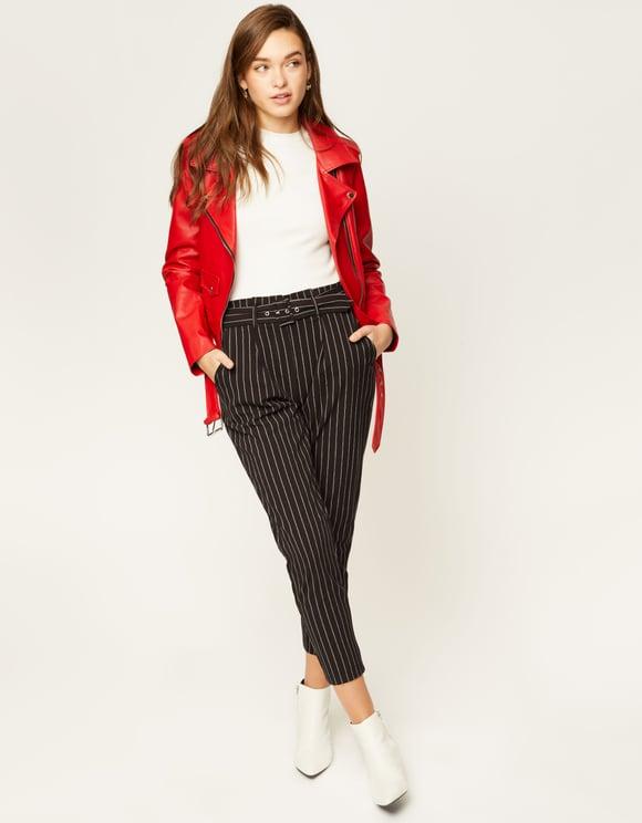 Pantalon Noir Rayé avec Ceinture