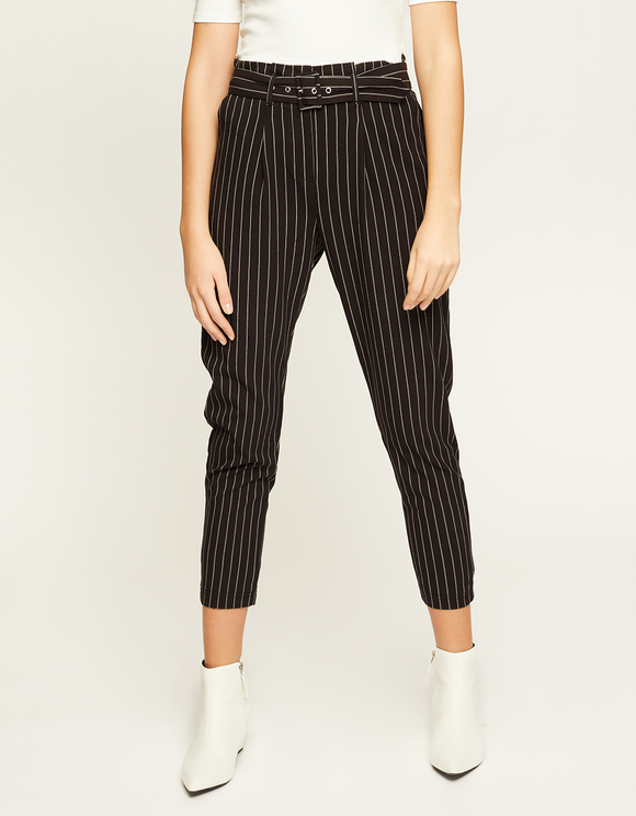 Black Striped Trousers with Belt