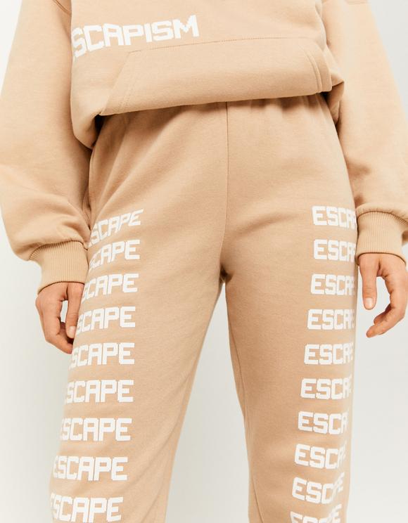 Pantaloni Joggers Beige Stampati