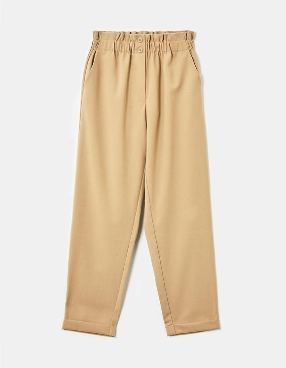 Pantaloni Beige Paperbag a Vita Alta