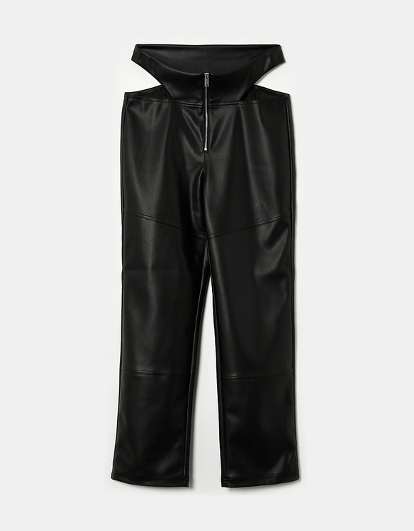 Pantaloni Neri Diritti a Vita Alta
