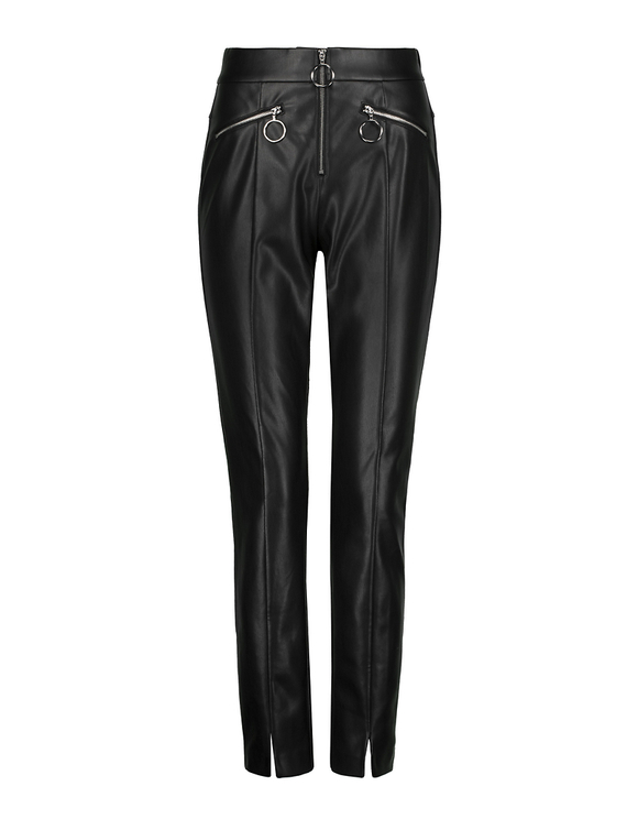 Skinny Faux Leather Trousers with Zip Detail