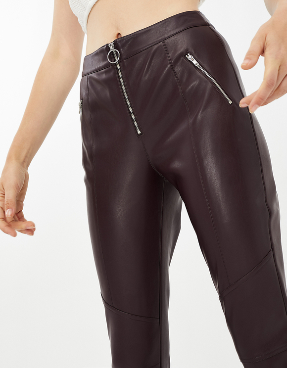 Pantaloni in Similpelle Bordeaux
