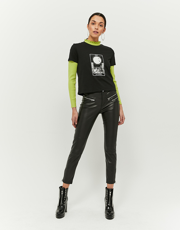 Black Faux Leather Trousers