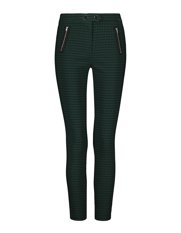High Waist Houndstooth Skinny Trousers