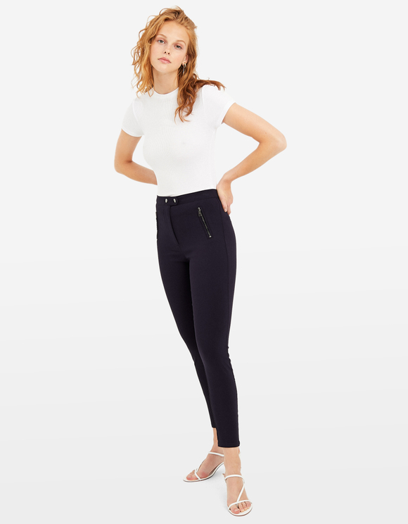 Blue High waist Skinny Trousers