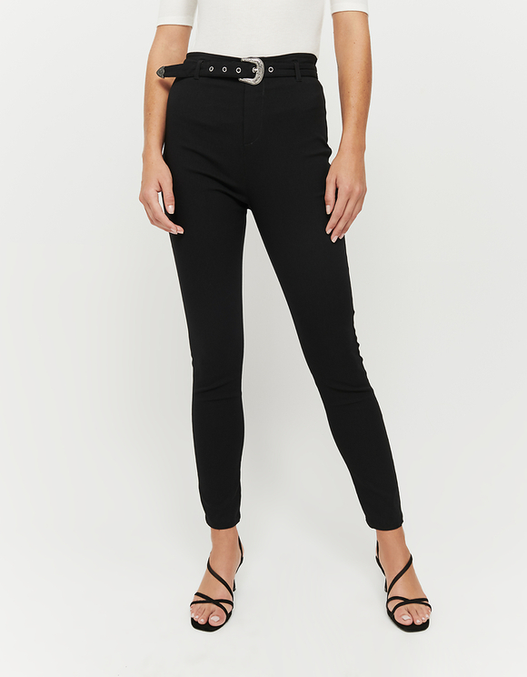 Black Skinny Trousers with Belt