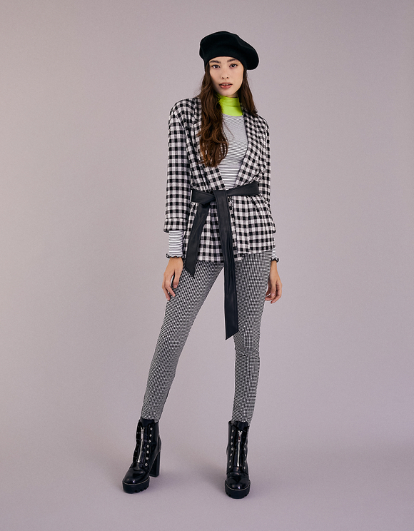 Gingham Trousers with Zip