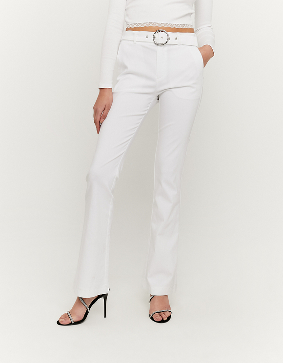 White Flare Trousers with Belt
