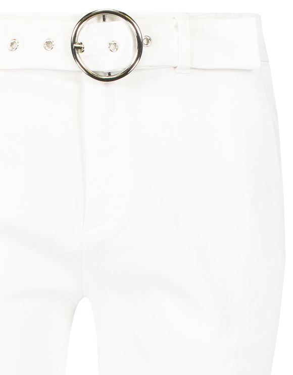 Pantaloni Bianchi Svasati con Cintura