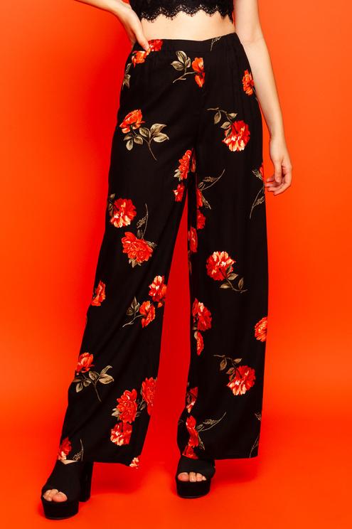 Black Floral Trousers