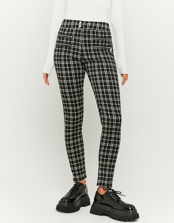 Pantalon Skinny Taille Haute à Carreaux