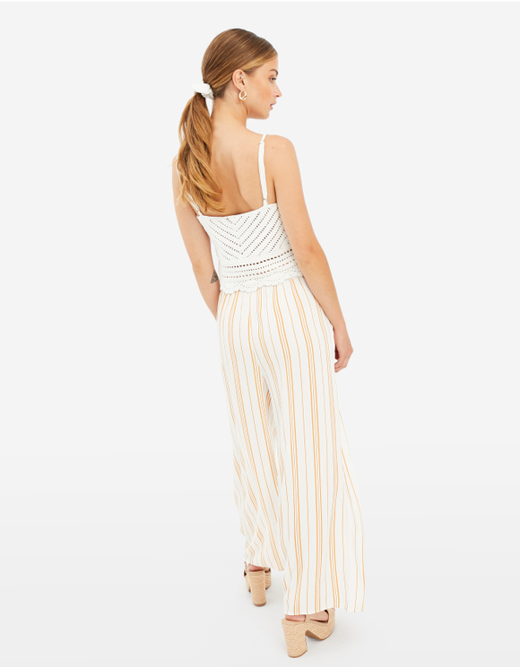 Beige Striped Wide Trousers