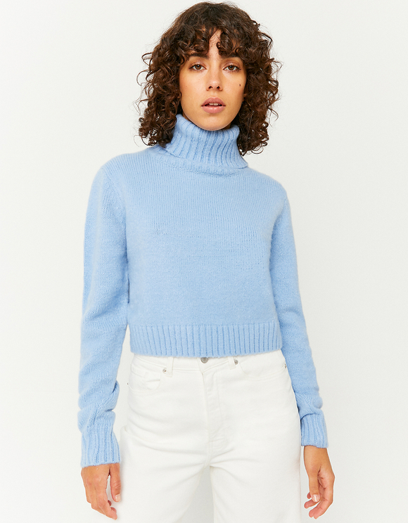 Pull Court Col Montant Bleu