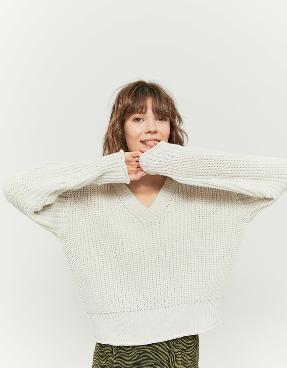White V-Neck Jumper