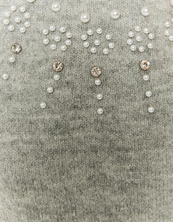 Szary sweter z golfem z kryształkami