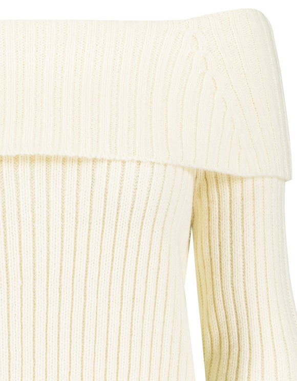 Beige Off Shoulders Jumper