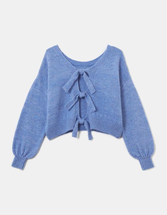 Niebieski sweter z wiązaniem na plecach