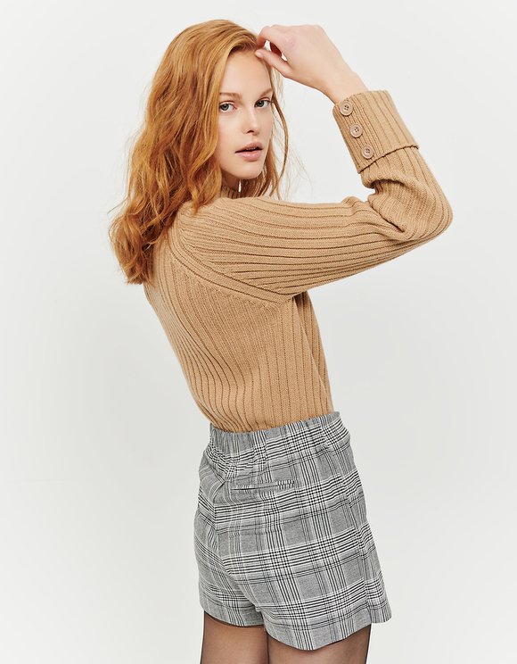 Beige Ribbed Jumper