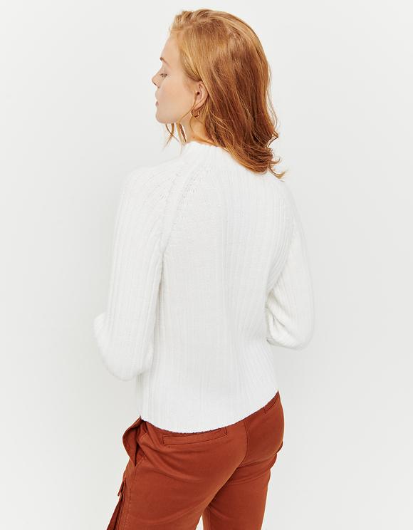 Weißer, gerippter Pullover
