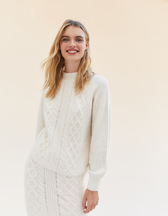 Beige Pointelle & Cable Knit Jumper