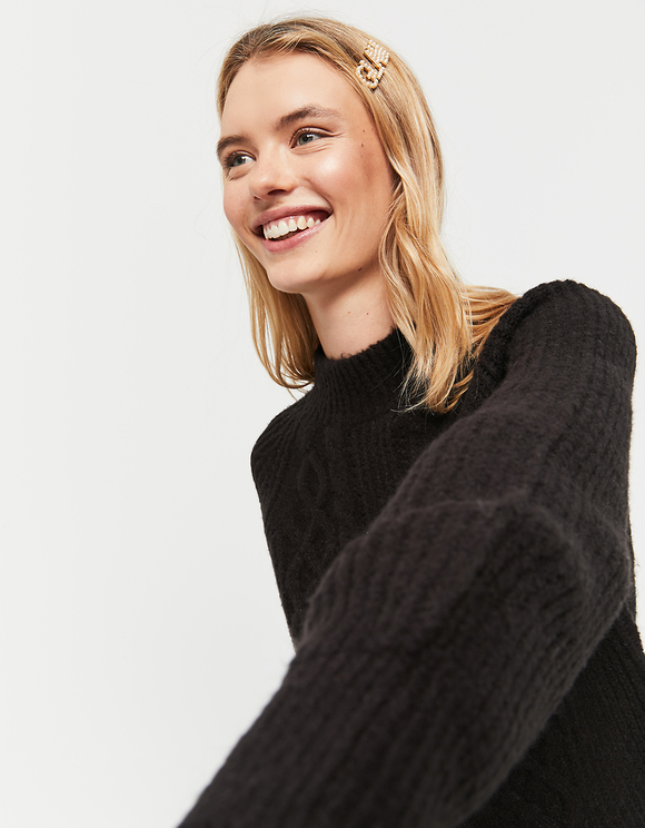 Black Pointelle & Cable Knit Jumper