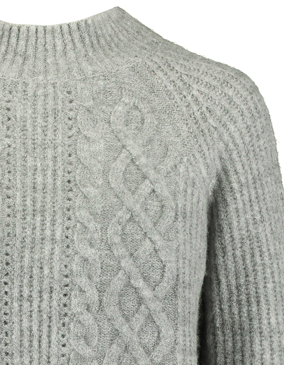 Grey Pointelle & Cable Knit  Jumper