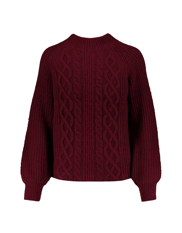 Red Pointelle & Cable Knit Jumper