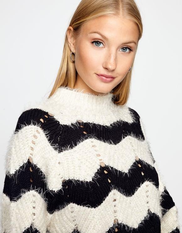 Pullover Bianco e Nero Peluche
