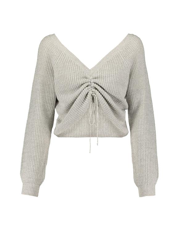 Grauer Pullover mit Kordelzug