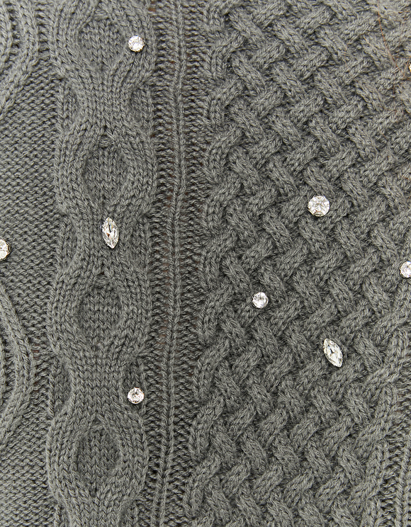 Grey Long Jumper with Rhinestones