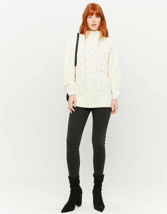 White Long Jumper with Rhinestones