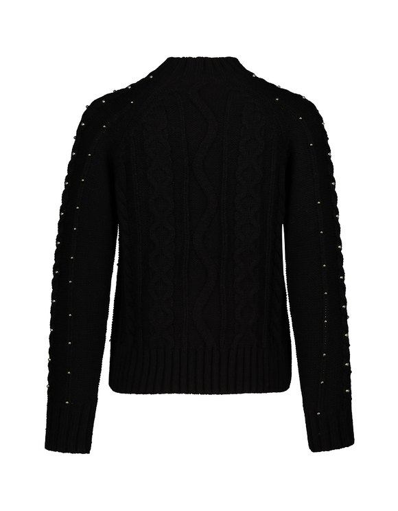 Black Cable Knit Jumper with Pearls