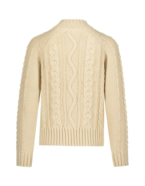 Beige Cable Knit Jumper with Pearls