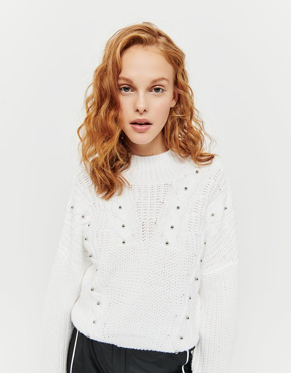 White Jumper with Pearls