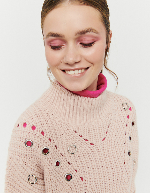 Pink Jumper with Eyelets