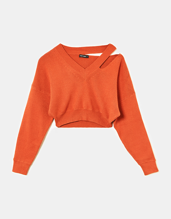 Orange Cropped Jumper with Cut Out