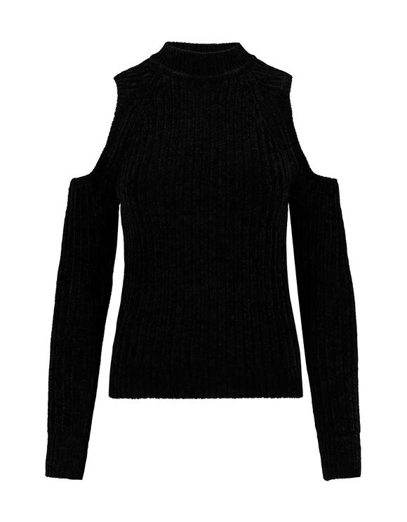 Black Cold Shoulders Chenille Jumper