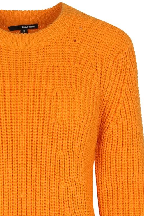 Oranger Strickpullover