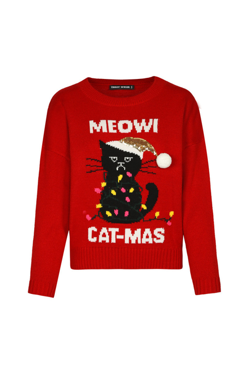 "Red ""Meowi Cat-Mas"" Jumper"