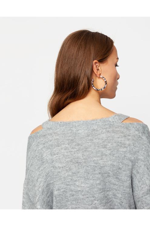 Grey Cold Shoulder Jumper