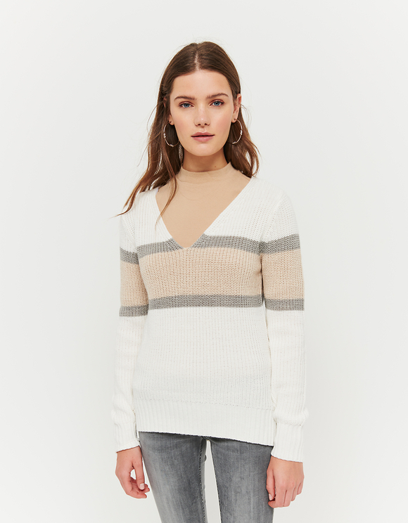 Beige-weißer Pullover