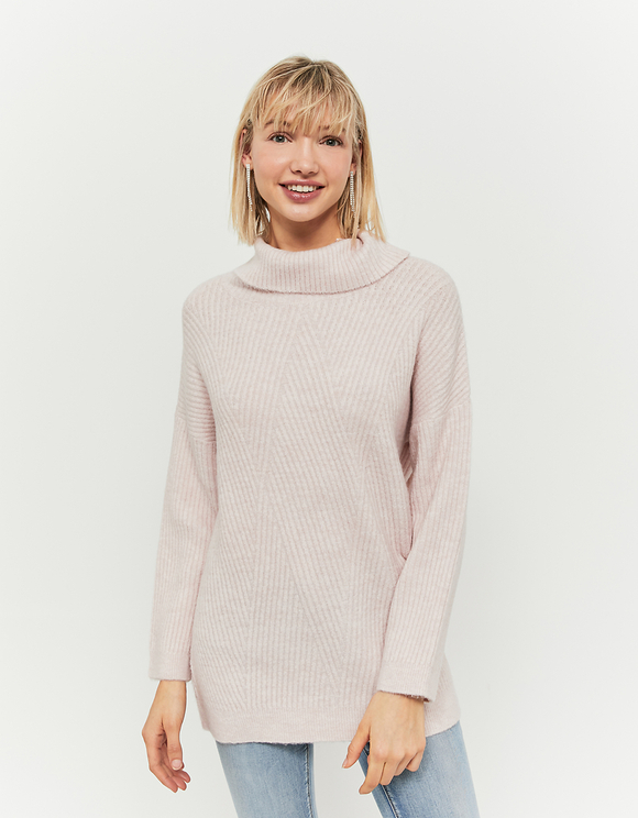 Pull Rose Col Montant
