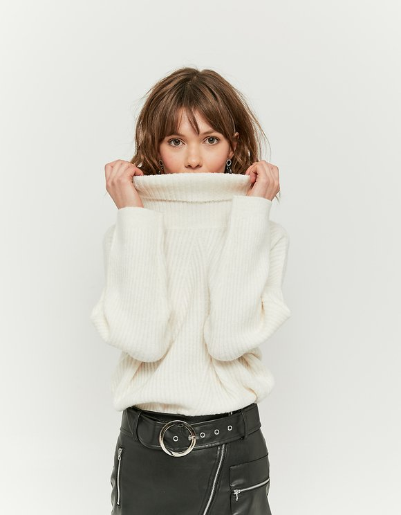 Pull Blanc Col Montant
