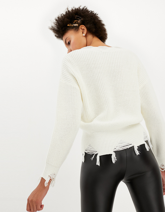 White Destroyed Jumper